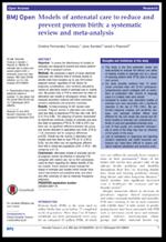 Modelos de atención prenatal para reducir y prevenir el parto prematuro: una revisión sistemática y meta-análisis