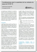 Consideraciones para la cuarentena de los contactos de casos de COVID-19