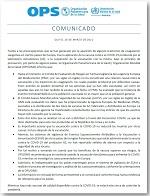 Comunicado de la Organización Panamericana de la Salud / Organización Mundial de la Salud (OPS/OMS) en relación a la vacuna contra la COVID-19 de AstraZeneca (AZ)