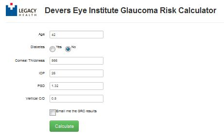 Denver Eye Insitute Glaucoma risk calculator