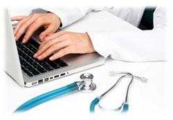 Médicos comunicación computadora
